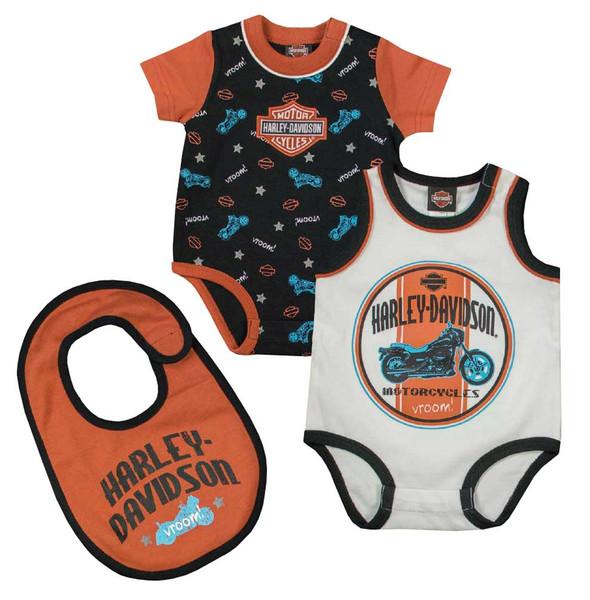 Harley-Davidson Baby Boys' Interlock Newborn 2-Pack Creeper & Bib Set, 3052621 - Wisconsin Harley-Davidson
