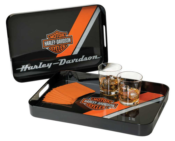 Harley-Davidson Bar & Shield Serving Tray Set, 2 Different Sizes Black HDL-18563 - Wisconsin Harley-Davidson