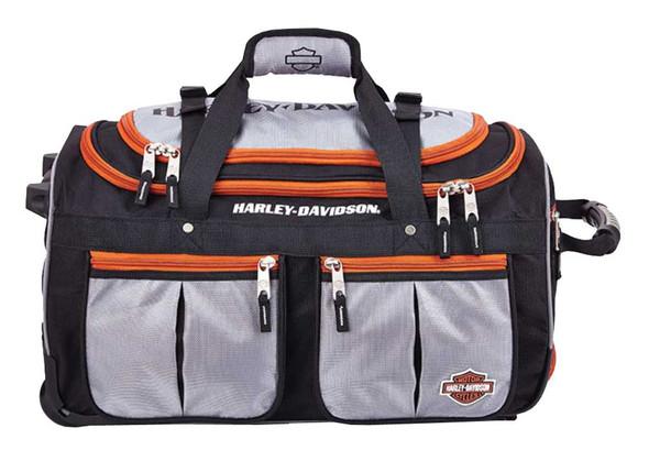 Harley-Davidson 21 inch 15-Pocket Wheeling Duffel Bag, Silver/Black 99521 - Wisconsin Harley-Davidson