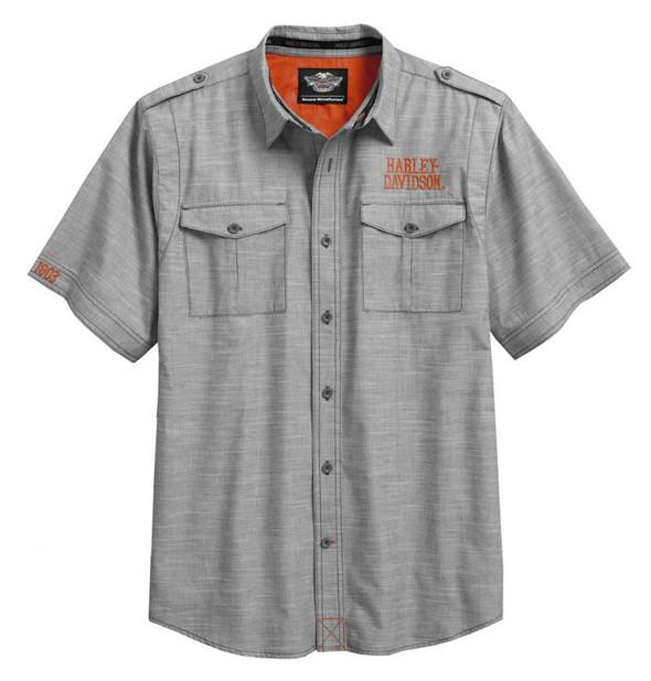 Harley-Davidson Men's Textured Slub Weave Short Sleeve Woven Shirt 96174-16VM - Wisconsin Harley-Davidson