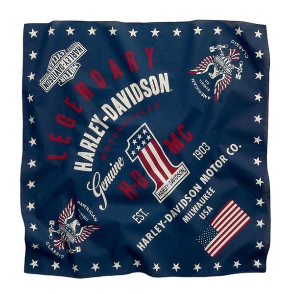 Harley-Davidson Men's Legendary American Flag Bandana, Dress Blues 97688-16VM - Wisconsin Harley-Davidson