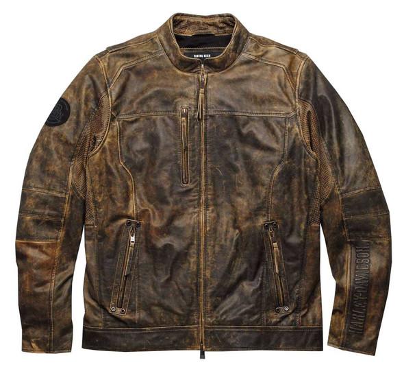 Harley-Davidson Men's Miramar Distressed Leather Jacket, Brown 97128-16VM - Wisconsin Harley-Davidson