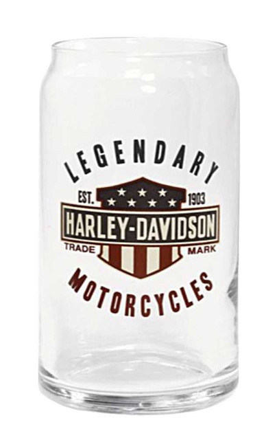 Harley-Davidson Legendary Bar & Shield Decal Soda Can Glass, 16 oz. 96891-16V - Wisconsin Harley-Davidson