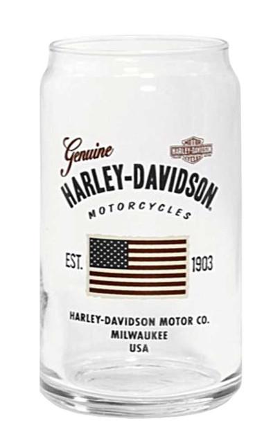 Harley-Davidson Stars & Stripes American Flag Soda Can Glass, 16 oz. 96893-16V - Wisconsin Harley-Davidson
