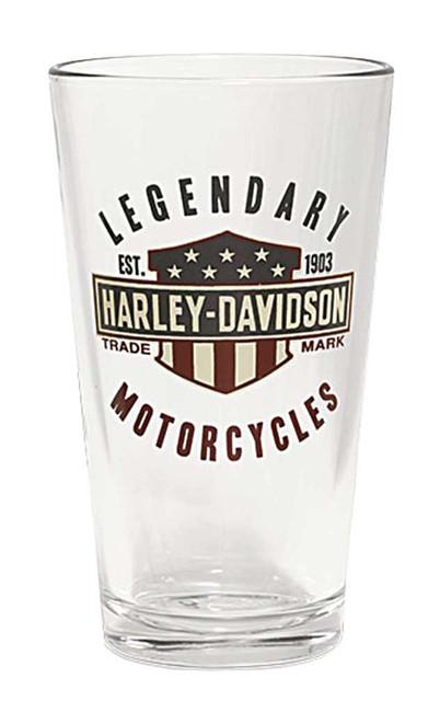 Harley-Davidson Legendary Bar & Shield Decal Pint Glass, 16 oz. 96887-16V - Wisconsin Harley-Davidson