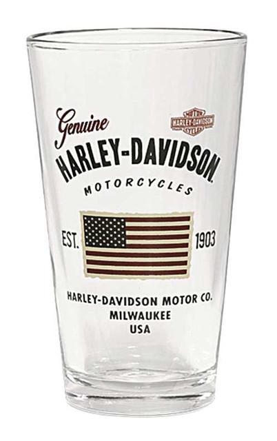 Harley-Davidson Stars & Stripes American Flag Decal Pint Glass, 16 oz. 96889-16V - Wisconsin Harley-Davidson