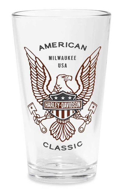 Harley-Davidson American Classic Decal Icon Pint Glass, 16 oz. 96886-16V - Wisconsin Harley-Davidson