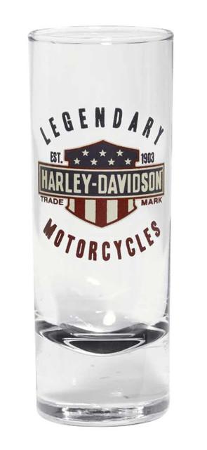 Harley-Davidson Legendary Bar & Shield Decal Shot Glass, 2.5 oz. 96895-16V - Wisconsin Harley-Davidson