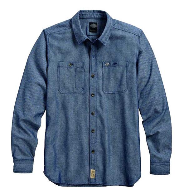 Harley-Davidson Men's Herringbone Woven Long Sleeve Shirt, Blue 96455-16VM - Wisconsin Harley-Davidson
