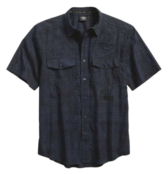 Harley-Davidson Men's Textured Distressed Short Sleeve Woven Shirt 96155-16VM - Wisconsin Harley-Davidson
