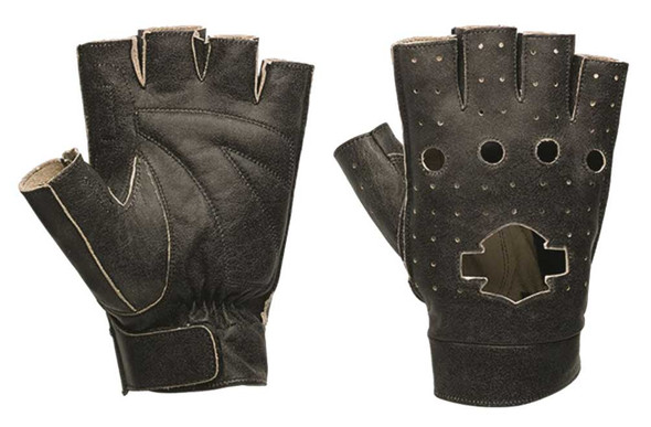 Harley-Davidson Men's Emery Perforated Leather Fingerless Gloves 97359-16VM - Wisconsin Harley-Davidson