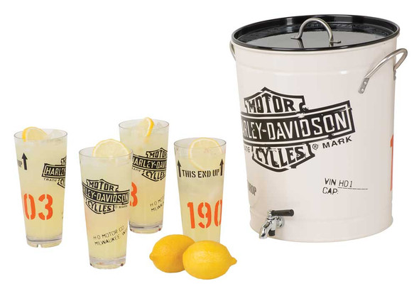 Harley-Davidson 1903 Bar & Shield Enamel Steel Beverage Dispenser Set  HDL-18764 - Wisconsin Harley-Davidson