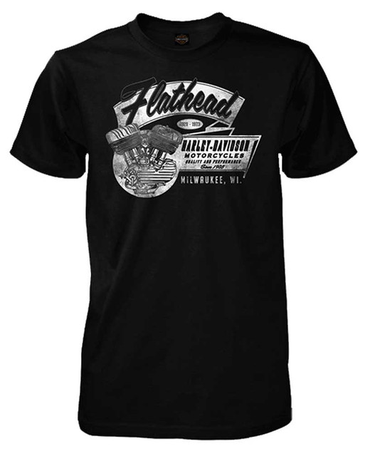 Harley-Davidson Men's Flathead V-Twin Engine Short Sleeve T-Shirt, Black - Wisconsin Harley-Davidson