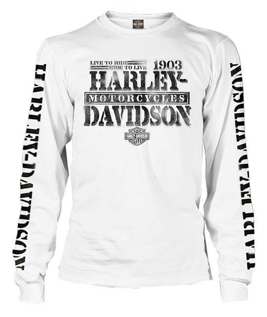 Harley-Davidson Men's Distressed Freedom Fighter Long Sleeve Shirt, White - Wisconsin Harley-Davidson