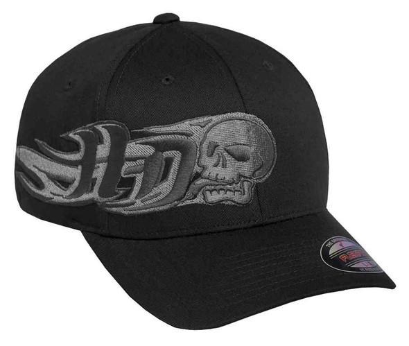 Harley-Davidson Men's Embroidered Skull Stretch Baseball Cap, Black 97748-16VM - Wisconsin Harley-Davidson