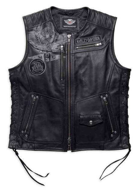 Harley-Davidson Men's Fetter Lacing Leather Midweight Vest, Black 97127-16VM - Wisconsin Harley-Davidson