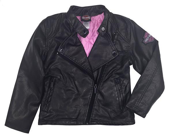 Harley-Davidson Little Girls' Winged Bar & Shield PU Biker Jacket, Black 6023691 - Wisconsin Harley-Davidson