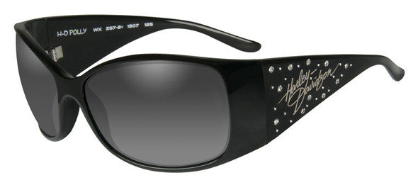 Harley-Davidson Womens Rhinestone Polly Sunglasses,Fade Lens/Black Frame HRPOL20 - Wisconsin Harley-Davidson