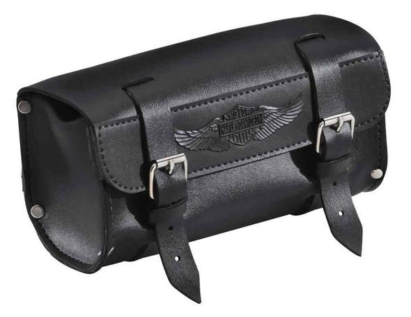 Harley-Davidson Handlebar/Fork Bag, Durable Leather, 8 inch Black 91744-87T - Wisconsin Harley-Davidson