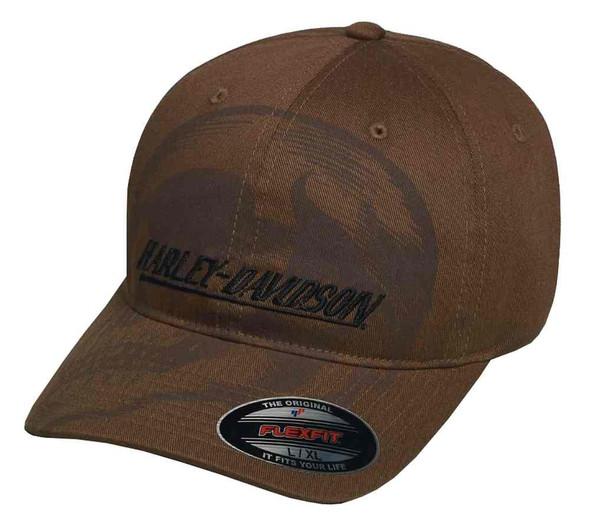 Harley-Davidson Men's Shadow Skull Stretch Fit Baseball Cap, Brown 97602-17VM - Wisconsin Harley-Davidson