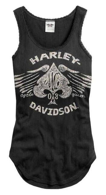 Harley-Davidson Women's Winged Spade Sleeveless Tank Top, Black 96005-17VW - Wisconsin Harley-Davidson