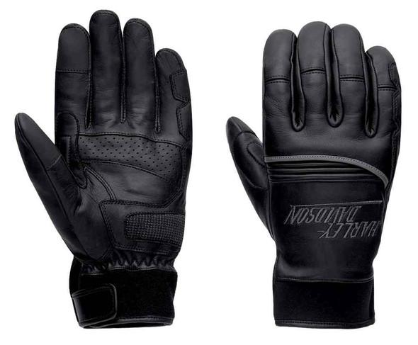 Harley-Davidson Men's Paxton Reflective Leather Gloves, Black 97368-17VM - Wisconsin Harley-Davidson