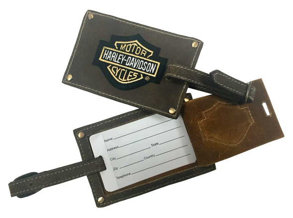 Harley-Davidson Bar & Shield Belted Luggage Tags, Brown Leather 99301-BROWN - Wisconsin Harley-Davidson