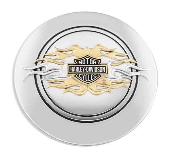 Harley-Davidson Flames Bar & Shield Fuel Cap Medallion Adhesive Backing 99686-98 - Wisconsin Harley-Davidson