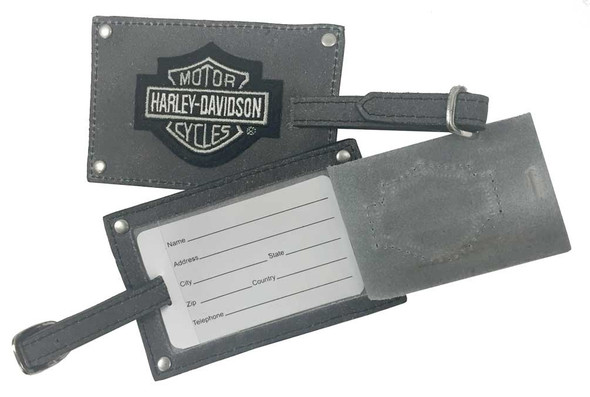 Harley-Davidson Bar & Shield Belted Luggage Tags, Gray Leather 99301-GRAY - Wisconsin Harley-Davidson