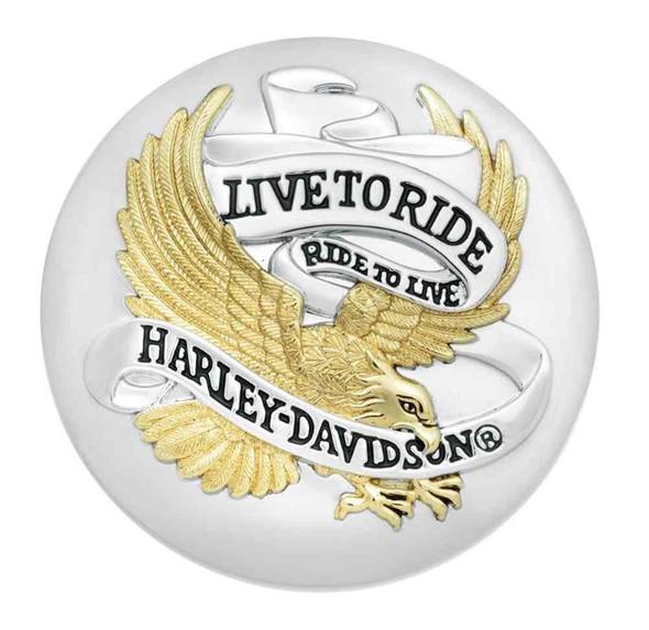 Harley-Davidson Live To Ride Fuel Cap Medallion, Adhesive Backing 99020-90T - Wisconsin Harley-Davidson