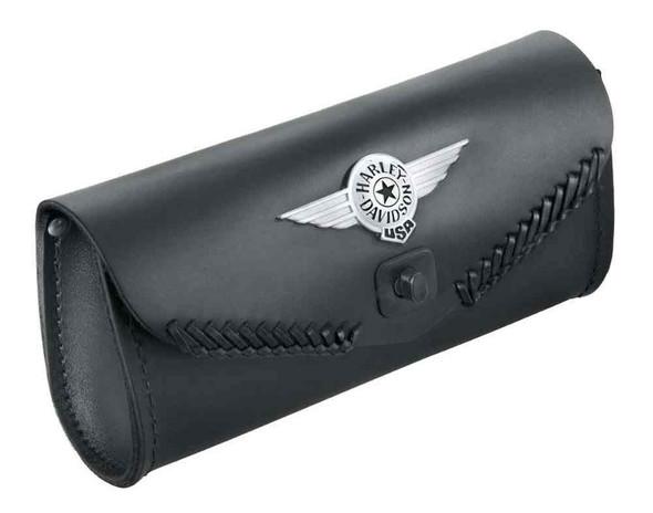 Harley-Davidson Fat Boy Concho Logo Leather Windshield Bag, Black 56626-99 - Wisconsin Harley-Davidson