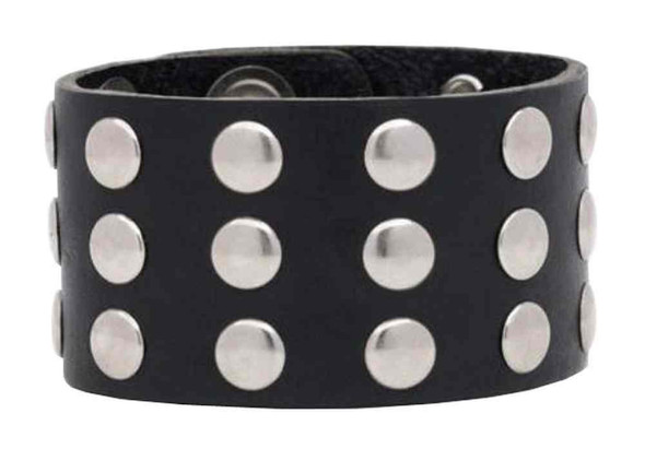 Genuine Leather Men's Three Row Rivet Wristband, 9.5 x 1.5 in Black Leather RW-1 - Wisconsin Harley-Davidson