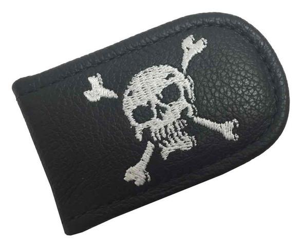 Genuine Leather Men's Embroidered Skull & Crossbones Leather Money Clip EC05-56W - Wisconsin Harley-Davidson