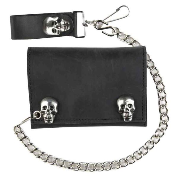 Genuine Leather Men's Metal Skull Snaps Tri-Fold Biker Chain Wallet, Black SK328 - Wisconsin Harley-Davidson