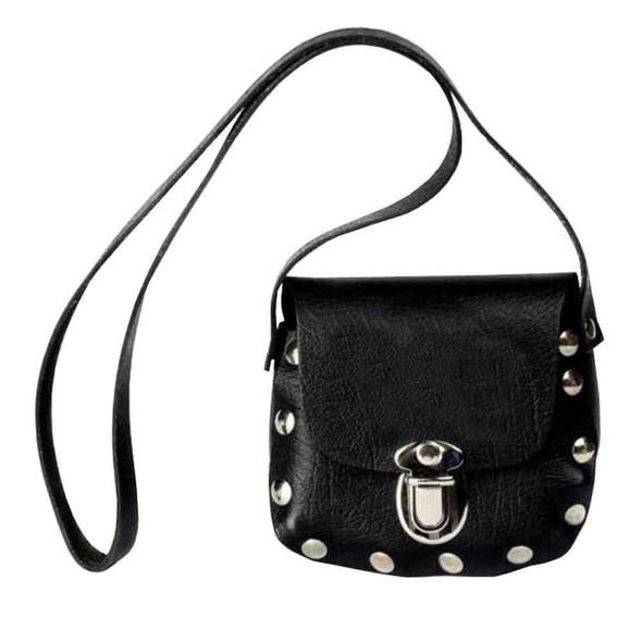 Genuine Leather Little Girls' Little Shoulder Bag Purse, Black Leather P32 - Wisconsin Harley-Davidson