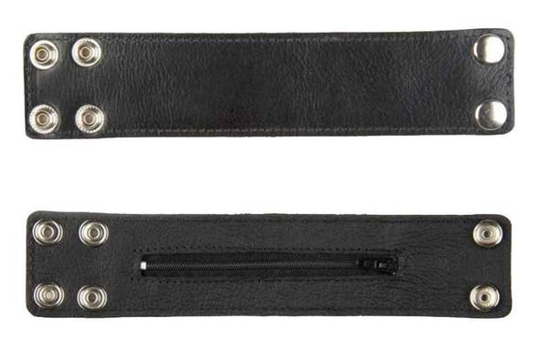 Genuine Leather Men's Zippered Money Wrist Cuff, Biker Style Black Leather WW-2B - Wisconsin Harley-Davidson