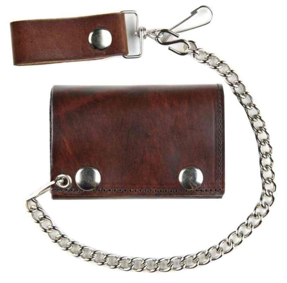 Men's TriFold Biker Chain Styled Wallet, Genuine Antique Brown Leather AT304 - Wisconsin Harley-Davidson