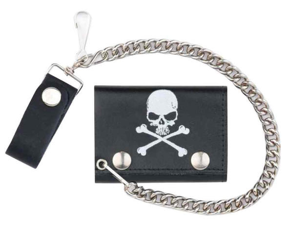Genuine Leather Men's Skull & Crossbones Tri-Fold Chain Wallet, Black TC304-6 - Wisconsin Harley-Davidson