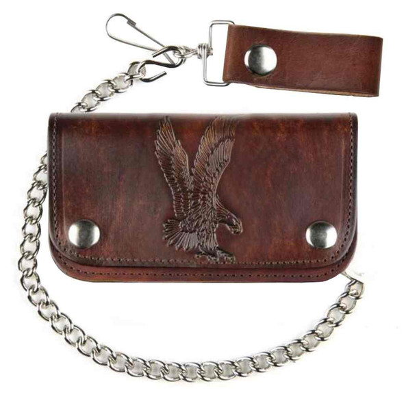 "Mascorro Men's 6"" Embossed Eagle Antique Biker Chain Leather Wallet AB412-42 - Wisconsin Harley-Davidson"