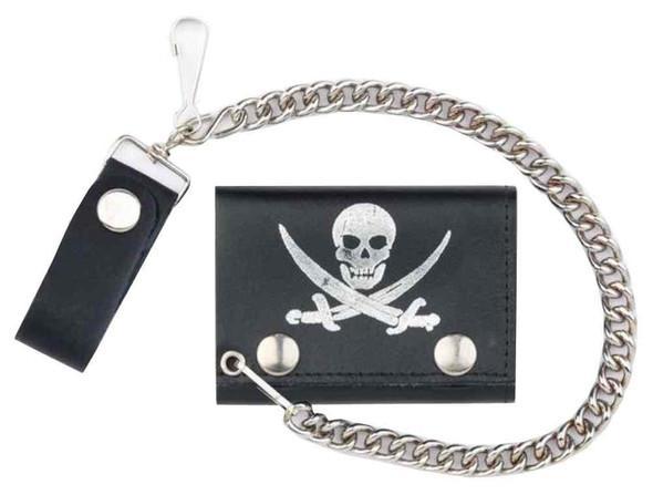 Genuine Leather Men's Pirate Skull Tri-Fold Biker Chain Wallet, Black TC304-70s - Wisconsin Harley-Davidson