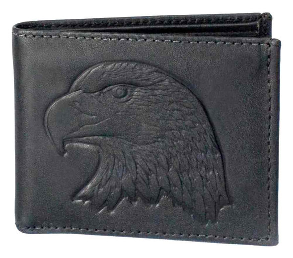 Genuine Leather Men's Embossed Eagle Distressed Leather Billfold Wallet DB313-40 - Wisconsin Harley-Davidson