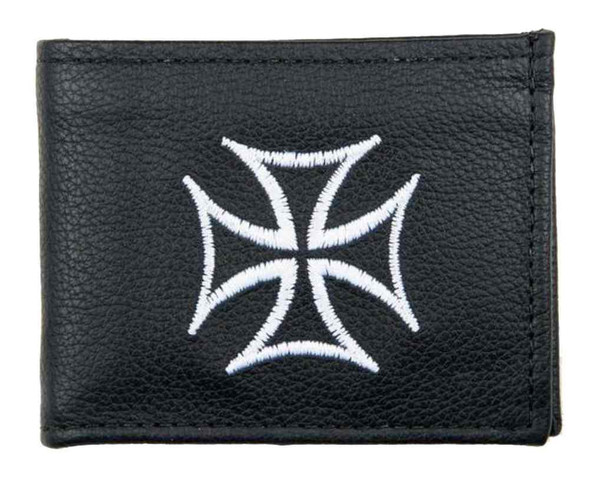 Genuine Leather Men's Embroidered Iron Cross Billfold Wallet, Black FB816-IC1 - Wisconsin Harley-Davidson