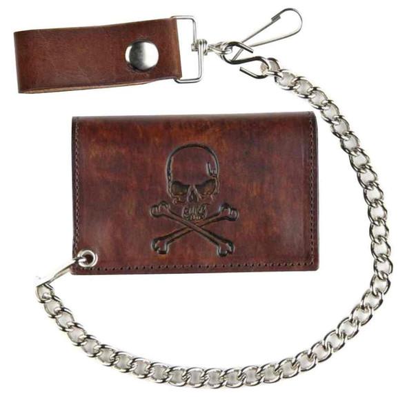 Biker Inspired Men's Skull & Crossbones Antique Tri-Fold Chain Wallet AT322-6 - Wisconsin Harley-Davidson