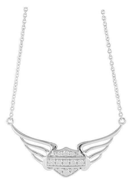 Harley-Davidson Women's Bling Bar & Shield Pierced Wings Necklace HDN0348-18 - Wisconsin Harley-Davidson