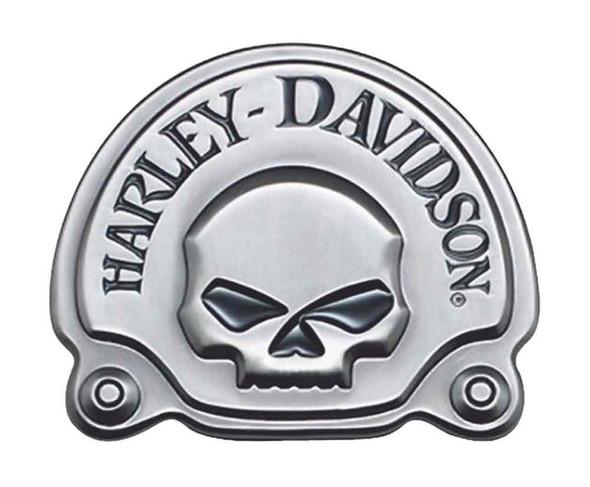 Harley-Davidson Antique Nickel Willie G Skull Medallion, 3.625 x 3 inch 91720-02 - Wisconsin Harley-Davidson