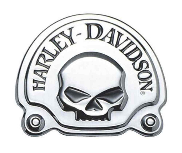 Harley-Davidson Chrome Willie G Skull Decorative Medallion, 3.625 x 3in 91718-02 - Wisconsin Harley-Davidson
