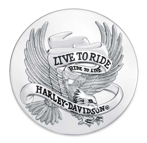 Harley-Davidson Live To Ride Eagle Chrome Medallion, 3.5 inches 99027-87T - Wisconsin Harley-Davidson