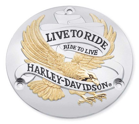 Harley-Davidson Live to Ride Gold Derby Cover, Fits All '70-'98 Models 25391-90T - Wisconsin Harley-Davidson