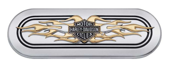 Harley-Davidson Bar & Shield Gold Flames Transmission End Cover Trim 61400024 - Wisconsin Harley-Davidson