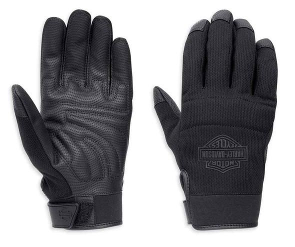 Harley-Davidson Men's Cavalier Mesh Full-Finger Gloves, Black 98350-17VM - Wisconsin Harley-Davidson